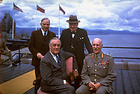 Political leaders gather for a portrait atop the Citadel of Quebec during the second Quebec Conference in Quebec, Canada, on August 19, 1943.  Clockwise, from top-left are:  Canadian Prime Minister Mackenzie King; Prime Minister Winston Churchill; the Earl of Athlone, Governor General of Canada; and President Franklin D. Roosevelt. (AP Photo/stf)