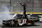 NASCAR Camping World Truck Series<br /> North Carolina Education Lottery 200<br /> Charlotte Motor Speedway, Concord, NC USA<br /> Friday 19 May 2017<br /> Kyle Busch, Cessna Toyota Tundra celebrates his win with a burnout<br /> World Copyright: Nigel Kinrade<br /> LAT Images<br /> ref: Digital Image 17CLT1nk05339