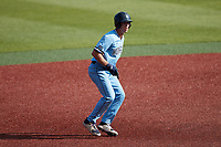 Thomas Wheeler (27) of the Old Dominion Monarchs takes his lead off of second base against the Charlotte 49ers at Hayes Stadium on April 25, 2021 in Charlotte, North Carolina. (Brian Westerholt/Four Seam Images)