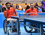 Toronto, ON - Aug 13 2015 - Steven Dunn and Asad Murtaza compete in Men's Team Class 3-4 Group A in the Atos Markham Parapan Am Centre during the Toronto 2015 Parapan American Games  (Photo: Matthew Murnaghan/Canadian Paralympic Committee)