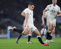 George Ford of England clears during the QBE International match between England and Australia at Twickenham Stadium on Saturday 29th November 2014 (Photo by Rob Munro)