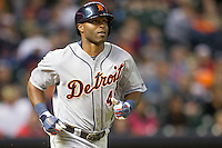 Detroit Tigers outfielder Torii Hunter (48) runs to first during the MLB baseball game against the Houston Astros on May 3, 2013 at Minute Maid Park in Houston, Texas. Detroit defeated Houston 4-3. (Andrew Woolley/Four Seam Images).