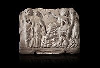 Roman relief sculpture of the Birth of Apollo. Roman 2nd century AD, Hierapolis Theatre.. Hierapolis Archaeology Museum, Turkey . Against an black background