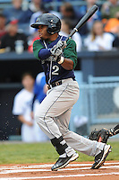 Lexington Legends Delino DeShields Jr. #2 swings at a pitch during a game against  the Asheville Tourists at McCormick Field in Asheville,  North Carolina;  April 15, 2011.  Asheville defeated Lexington 2-1.  Photo By Tony Farlow/Four Seam Images