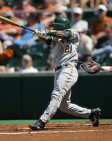 Baylor CF Paul Miles (2) swings against Texas on May 3rd, 2008. Photo by Andrew Woolley / Four Seam Images