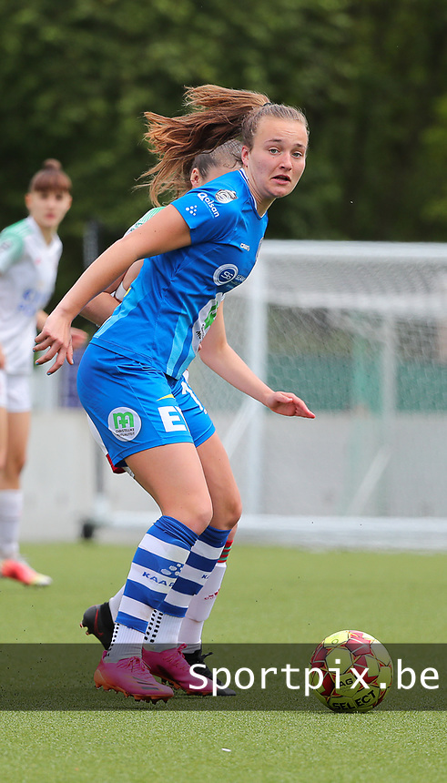 Lobke Loonen (19) of AA Gent pictured during a female soccer game between Oud Heverlee Leuven and AA Gent Ladies on the 9 th matchday of play off 1 in the 2020 - 2021 season of Belgian Womens Super League , saturday 22 nd of May 2021  in Heverlee , Belgium . PHOTO SPORTPIX.BE | SPP | SEVIL OKTEM