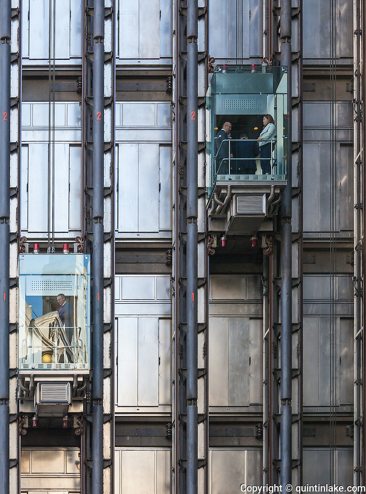 External Lifts Of Lloyds Building London Architectural Style High Tech Or Structural Expressionism Architect Richard Rogers Partnership Engineer Arup Built 1986 Quintin Lake Photography