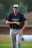 Vermont Lake Monsters starting pitcher A.J. Puk (45) walks off the field after the first inning of his professional debut against the Auburn Doubledays on July 12, 2016 at Falcon Park in Auburn, New York.  Auburn defeated Vermont 3-1.  (Mike Janes/Four Seam Images)