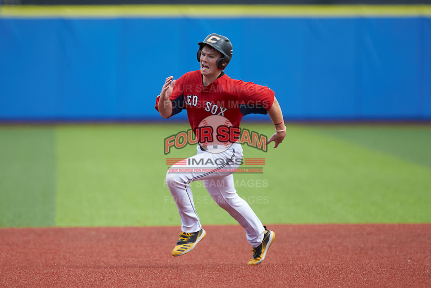 James Triantos (24) of Madison High School (VA) playing for the Red Sox scout team hustles towards third base during game six of the South Atlantic Border Battle at Truist Point on September 27, 2020 in High Pont, NC. (Brian Westerholt/Four Seam Images)