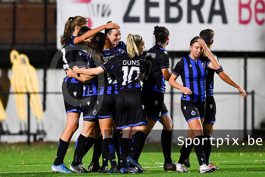 Brugge's Nicky Van Den Abbeele pictured celebrating after scoring a goal during a female soccer game between Sporting Charleroi and Club Brugge YLA on the fourth matchday of the 2020 - 2021 season of Belgian Scooore Womens Super League , friday 9 nd of October 2020  in Marcinelle , Belgium . PHOTO SPORTPIX.BE   SPP   DAVID CATRY