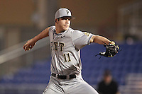 Pittsburgh Panthers pitcher Matt Wotherspoon #11 delivers a pitch during a game against the Michigan Wolverines at the Big Ten/Big East Challenge at Florida Auto Exchange Stadium on February 17, 2012 in Dunedin, Florida.  (Mike Janes/Four Seam Images)