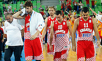 "Croatia`s national basketball team head coach Jasmin Repesa, Ante Tomic, Luka Zoric, Roko Leni Ukic and Krunoslav Simon leave court after European basketball championship ""Eurobasket 2013""  basketball game for 3rd place between Spain and Croatia in Stozice Arena in Ljubljana, Slovenia, on September 22. 2013. (credit: Pedja Milosavljevic  / thepedja@gmail.com / +381641260959)"