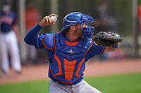 New York Mets catcher Matt O'Neill (48) throwing during a Minor League Spring Training game against the Houston Astros on April 27, 2021 at FITTEAM Ballpark of the Palm Beaches in Palm Beach, Fla.  (Mike Janes/Four Seam Images)