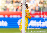 CARSON, CA - FEBRUARY 07: Stephanie Labbe #1 of Canada directs her defense during a game between Canada and Costa Rica at Dignity Health Sports Park on February 07, 2020 in Carson, California.