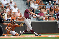 Texas A&M Aggies shortstop Kenny Jackson #15 swings and misses against the Texas Longhorns in NCAA Big XII Conference baseball on May 21, 2011 at Disch Falk Field in Austin, Texas. (Photo by Andrew Woolley / Four Seam Images)