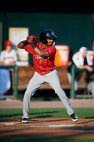 Erie SeaWolves shortstop Sergio Alcantara (1) at bat during a game against the Harrisburg Senators on August 29, 2018 at FNB Field in Harrisburg, Pennsylvania.  Harrisburg defeated Erie 5-4.  (Mike Janes/Four Seam Images)