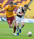 23/10/2010   Copyright  Pic : James Stewart.sct_jsp012_motherwell_v_dundee  .::  CRAIG CONWAY TRIES TO GET AWAY FROM STEVEN SAUNDERS ::.James Stewart Photography 19 Carronlea Drive, Falkirk. FK2 8DN      Vat Reg No. 607 6932 25.Telephone      : +44 (0)1324 570291 .Mobile              : +44 (0)7721 416997.E-mail  :  jim@jspa.co.uk.If you require further information then contact Jim Stewart on any of the numbers above.........