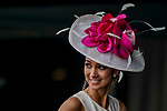 June 4, 2021:  A member of the media waits for the start of a race during Friday at the Belmont Stakes Festival at Belmont Park in Elmont, New York. Scott Serio/Eclipse Sportswire/CSM