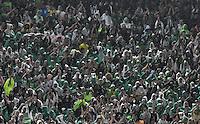 BOGOTA - COLOMBIA -25-02-2017: Hinchas de Atletico Nacional, animan a su equipo, durante partido entre La Equidad y Atletico Nacional, por la fecha 5 de la Liga Aguila I-2017, jugado en el estadio Nemesio Camacho El Campin de la ciudad de Bogota. / Fans of Atletico Nacional, cheer for their team during a match between La Equidad and Atletico Nacional, for the  date 5 of the Liga Aguila I-2017 at the Nemesio Camacho El Campin Stadium in Bogota city, Photo: VizzorImage  / Luis Ramirez / Staff.