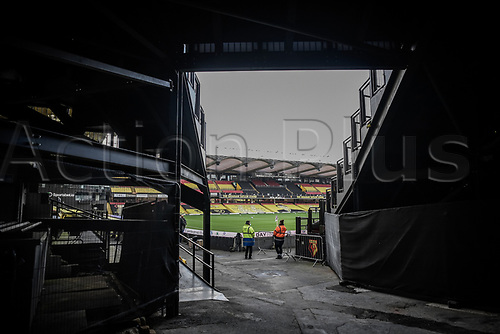 7th November 2020; Vicarage Road, Watford, Hertfordshire, England; English Football League Championship Football, Watford versus Coventry City; A general view of the Vicarage Road Stadium from the players tunnel.