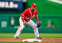 22 April 2010: Washington Nationals' second baseman Alberto Gonzalez in action against the Colorado Rockies at Nationals Park in Washington, DC. The Rockies shut out the Nationals 2-0 gaining a 2-2 series split. Mandatory Credit: Ed Wolfstein Photo