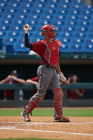Catcher Jacob Cozart (14) of Wesleyan Christian Academy in High Point, NC playing for the Arizona Diamondbacks scout team during the East Coast Pro Showcase at the Hoover Met Complex on August 2, 2020 in Hoover, AL. (Brian Westerholt/Four Seam Images)