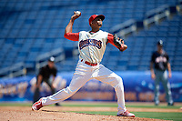 Clearwater Threshers relief pitcher Felix Paulino (37) delivers a pitch during a game against the Jupiter Hammerheads on April 11, 2018 at Spectrum Field in Clearwater, Florida.  Jupiter defeated Clearwater 6-4.  (Mike Janes/Four Seam Images)