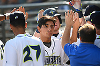 Shortstop Andres Gimenez (13) of the Columbia Fireflies is greeted after scoring a run in game one of a doubleheader against the Rome Braves on Saturday, August 19, 2017, at Spirit Communications Park in Columbia, South Carolina. Rome won, 8-2. (Tom Priddy/Four Seam Images)