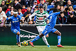 Enrique Garcia of SD Eibar (C) fights for the ball with Dakonam Djene of Getafe CF (R) during the La Liga 2017-18 match between Getafe CF and SD Eibar at Coliseum Alfonso Perez Stadium on 09 December 2017 in Getafe, Spain. Photo by Diego Souto / Power Sport Images