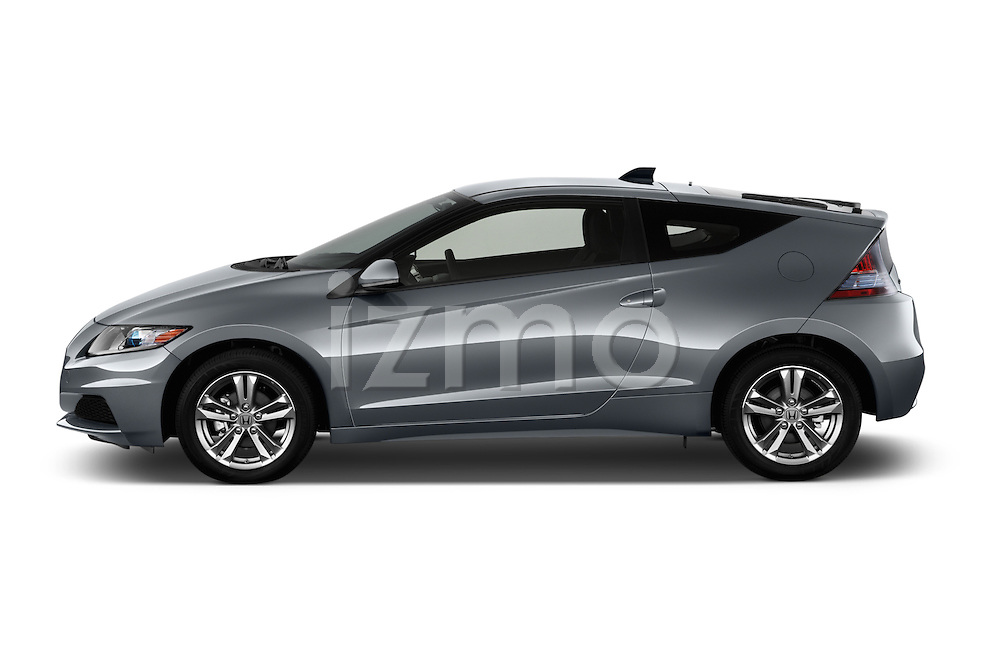 Driver side profile view of a 2013 Honda CR-Z Hybrid Hatchback.