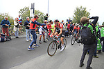 Tim Wellens (BEL) and Domenico Pozzovivo (ITA) Bahrain-Merida lead the way up the Superga for the 1st ascent during the 99th edition of Milan-Turin 2018, running 200km from Magenta Milan to Superga Basilica Turin, Italy. 10th October 2018.<br /> Picture: Eoin Clarke | Cyclefile<br /> <br /> <br /> All photos usage must carry mandatory copyright credit (© Cyclefile | Eoin Clarke)