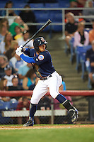 Binghamton Mets second baseman L.J. Mazzilli (13) at bat during a game against the Trenton Thunder on August 8, 2015 at NYSEG Stadium in Binghamton, New York.  Trenton defeated Binghamton 4-2.  (Mike Janes/Four Seam Images)