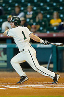 Joey Hainsfurther #1 of the Baylor Bears follows through on his swing against the Utah Utes at Minute Maid Park on March 5, 2011 in Houston, Texas.  Photo by Brian Westerholt / Four Seam Images