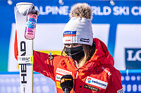 13th February 2021, Cortina, Italy; FIS World Championship Womens Downhill Skiing;  Corinne Suter of Switzerland reacts after the womens Downhill Race