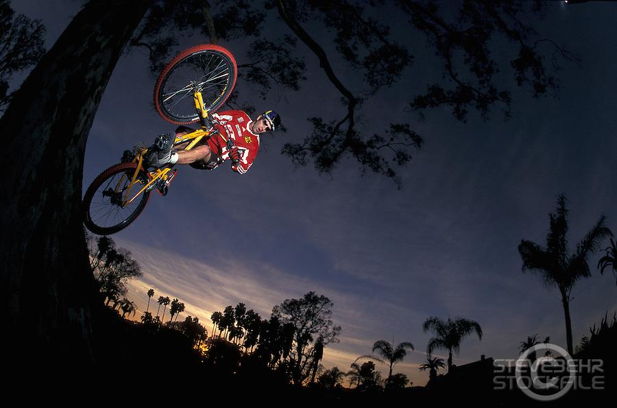 Hans Rey Treeride<br /> Huntington Beach , California <br /> pic copyright Steve Behr / Stockfile
