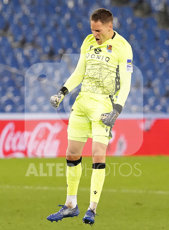 Real Sociedad's Alejandro Remiro celebrates goal during La Liga match. October 3, 2020. (ALTERPHOTOS/Acero)