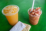 Ceviche and fresh squeezed orange juice at a stand in Tayrona National Park, near Santa Marta, Colombia.  The park is one of the most popular tourist destinations on Colombia's Caribbean coast.