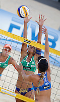 Brazil's Talita Antunes da Rocha in action against Jennifer Kessy, of the United States, right, during the women's final match between Brazil and United States at the Beach Volleyball World Tour Grand Slam, Foro Italico, Rome, 23 June 2013. Brazil defeated United States 2-1.<br /> UPDATE IMAGES PRESS/Isabella Bonotto