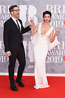 Matthew Morrison and Renee Puente<br /> arriving for the BRIT Awards 2019 at the O2 Arena, London<br /> <br /> ©Ash Knotek  D3482  20/02/2019<br /> <br /> *images for editorial use only*