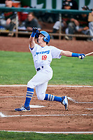 Rylan Bannon (18) of the Ogden Raptors hits his first of two three run homers against the Great Falls Voyagers at Lindquist Field on September 14, 2017 in Ogden, Utah. The Raptors defeated the Voyagers 7-4 in Game One of the Pioneer League Championship. (Stephen Smith/Four Seam Images)