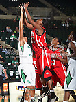 North Texas Mean Green forward Ash'Lynne Evans (1) defends Arkansas State Red Wolves forward Sherina Scott (22) during the NCAA Women's basketball game between the Arkansas State Red Wolves and the University of North Texas Mean Green at the North Texas Coliseum,the Super Pit, in Denton, Texas. Arkansas State defeated UNT 62 to 59