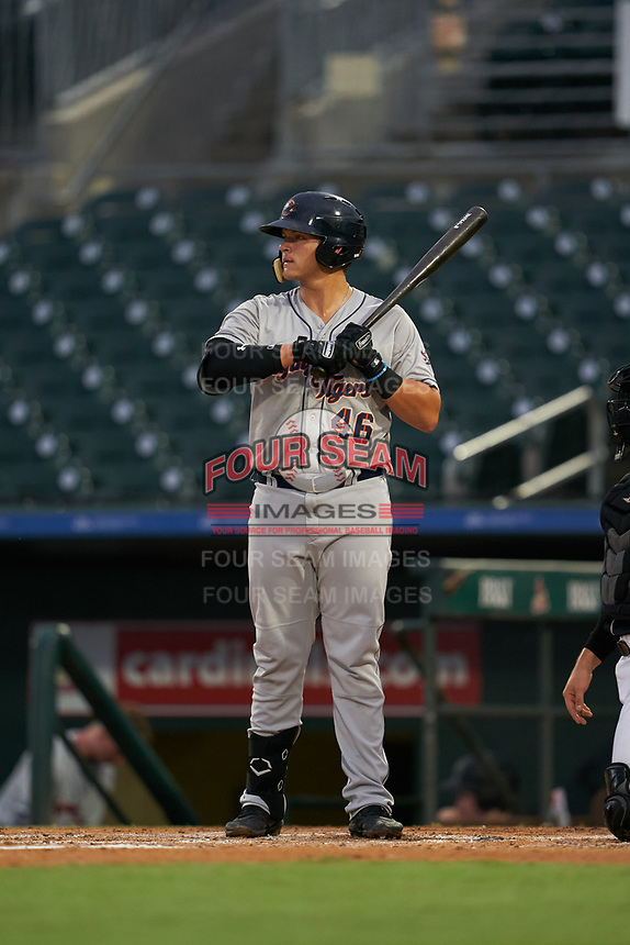 Lakeland Flying Tigers Nick Ames (46) at bat during a Florida State League game against the Jupiter Hammerheads on August 12, 2019 at Roger Dean Chevrolet Stadium in Jupiter, Florida.  Jupiter defeated Lakeland 9-3.  (Mike Janes/Four Seam Images)