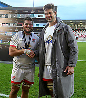Sunday 25th October 2020   Ulster vs Dragons<br /> <br /> 25 October 2020; Sean Reidy receives the Player of The Match award from Ulster captain Sam Carter after the Guinness PRO14 match between Ulster and Dragons at Kingspan Stadium in Belfast. Photo by John Dickson / Dicksondigital