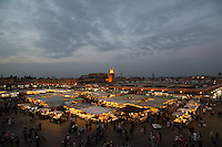 Jamaa El Fna at sunset in Marrakech, Morocco
