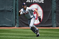 Binghamton Mets outfielder Brandon Nimmo (25) tracks a fly ball during a game against the Erie Seawolves on July 13, 2014 at Jerry Uht Park in Erie, Pennsylvania.  Binghamton defeated Erie 5-4.  (Mike Janes/Four Seam Images)