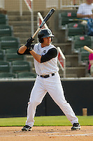Drew Lee #11 of the Kannapolis Intimidators at bat against the Delmarva Shorebirds at Fieldcrest Cannon Stadium on May 22, 2011 in Kannapolis, North Carolina.   Photo by Brian Westerholt / Four Seam Images
