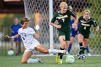 TCU midfielder Lauren Sajewich and Baylor midfielder Alexa Wilde (7) fight to control the ball during first half of NCAA soccer game, Friday, October 03, 2014 in Waco, Tex. TCU and Baylor are tied 1-1 at the halftime. (Mo Khursheed/TFV Media via AP Images)