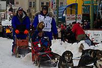 2010 Iditarod Ceremonial Start in Anchorage Alaska musher # 23 KARIN HENDRICKSON with Iditarider JOYCE GRIFFITH