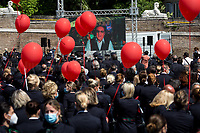Renzo Arbore (Musician).<br /> <br /> Rome, Italy. 05th May, 2021. Today, Alitalia workers, held a demonstration in Piazza del Popolo to mark the 74th Anniversary of Alitalia which saw its first flight: Torino - Roma - Catania, using an airplane FIAT G-12, on the 5th May 1947. The flag carrier of Italy was founded on the 16th September 1946 as Alitalia - Aerolinee Italiane Internazionali - but recently a plan to dismantle it has been under discussion between Mario Draghi's Italian Government and the European Union (EU - UE). The plan is to make Alitalia as a small and regional airline with a different name - while it is still one of the biggest airport slots owner in the world -, and to lay-off the majority of the workers - about 11,000 - of the Italian historical air company.   <br /> <br /> Footnotes & Links:<br /> Previous Demos:<br /> 23.04.2021 - Alitalia Workers Protest At Rome's Fiumicino Airport https://lucaneve.photoshelter.com/gallery/23-04-2021-Alitalia-Workers-Protest-At-Romes-Fiumicino-Airport/G0000I0vNSqRTV.Q/C0000GPpTqAGd2Gg<br /> 16.04.2021 - Alitalia Workers Protest At Fori Imperiali and Campidoglio https://lucaneve.photoshelter.com/gallery/16-04-2021-Alitalia-Workers-Protest-At-Fori-Imperiali-and-Campidoglio/G0000unf5F2yc0Ts/C0000GPpTqAGd2Gg<br /> 03.03.2021 - Alitalia Workers Protest Outside Italian Ministry Of Transport https://lucaneve.photoshelter.com/gallery/03-03-2021-Alitalia-Workers-Protest-Outside-Italian-Ministry-Of-Transport/G0000JI_TNBKDjz8/C0000GPpTqAGd2Gg