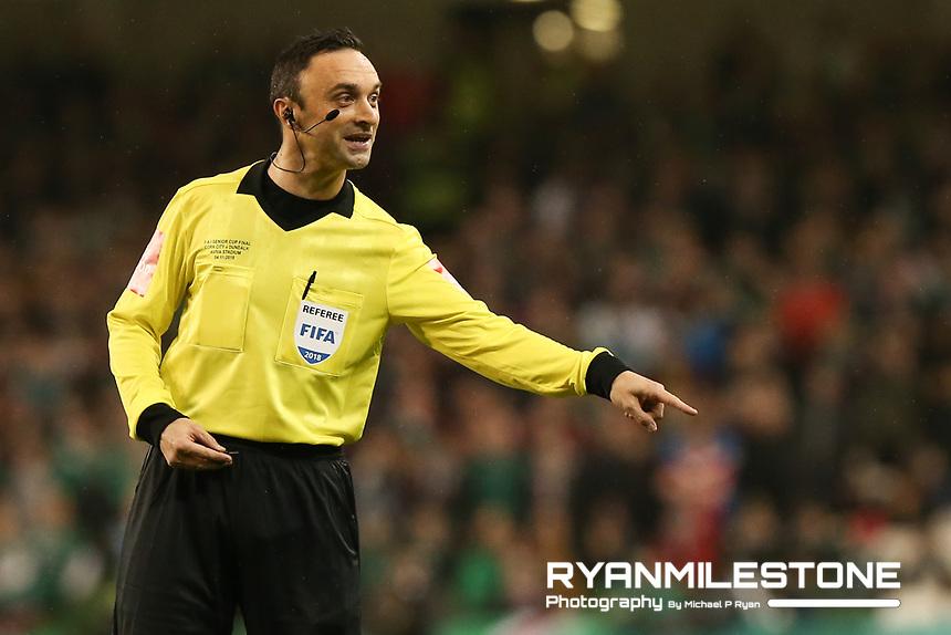 Referee Neil Doyle during the Irish Daily Mail FAI Cup Final between Dundalk and Cork City, on Sunday 4th November 2018, at the Aviva Stadium, Dublin. Mandatory Credit: Michael P Ryan.